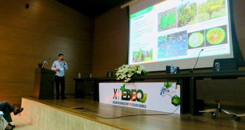 Pesquisador do Fundecitrus apresenta resultados de estudos para repelência do psilídeo no X Encontro Brasileiro de Ecologia Química